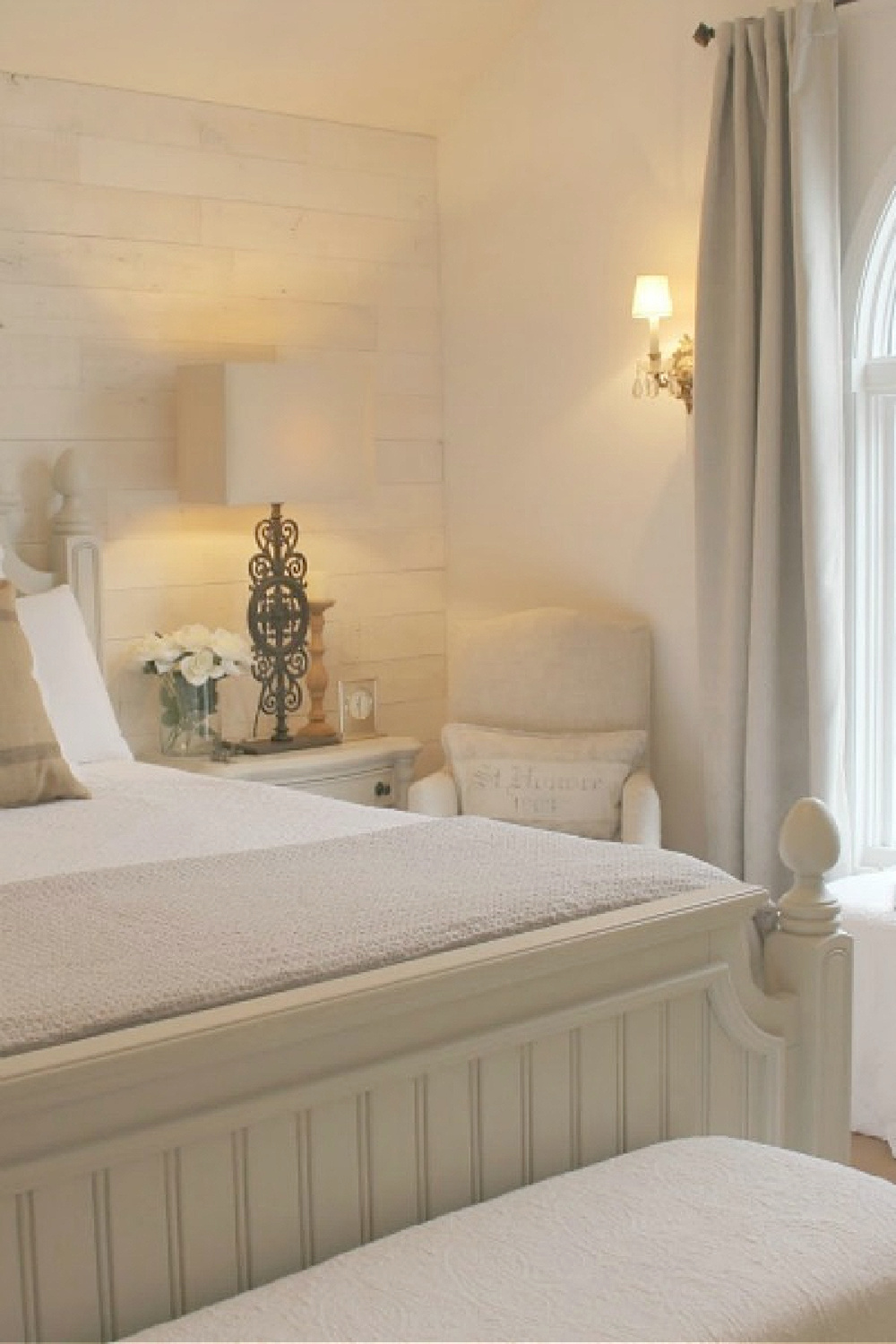 Stikwood (Hamptons) on wall behind bed in a serene French Nordic country style bedroom - Hello Lovely.