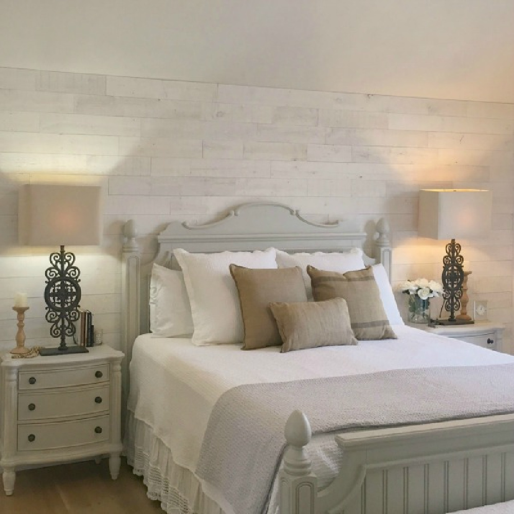 Stikwood Hamptons rustic reclaimed wood wall in my Country French white bedroom with furniture painted Benjamin Moore Revere Pewter - Hello Lovely Studio.