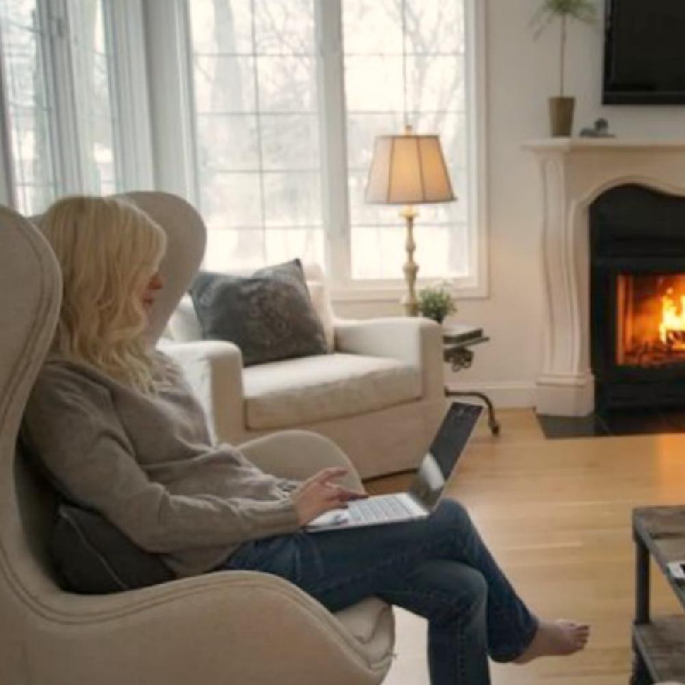 Belgian linen upholstered furniture including swivel egg chair in my living room with white oak hardwoods - Hello Lovely.