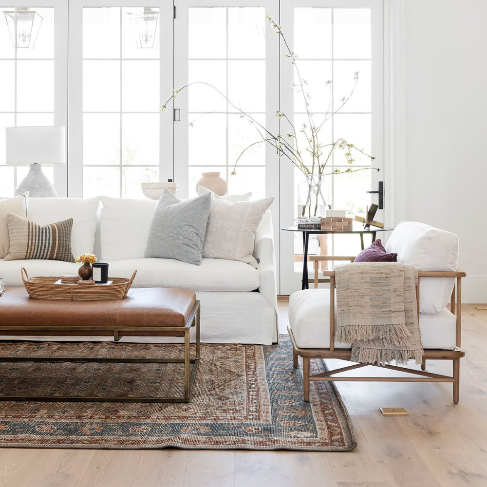 Beautiful casual classic and natural family room with white Everleigh sofa - McGee & Co. #whitesofas #familyroom #casualclassicstyle