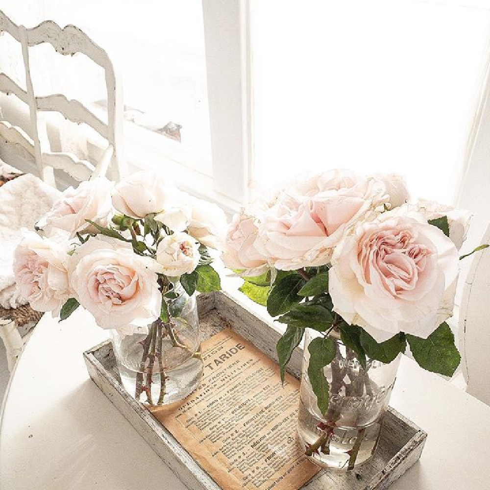 Pink garden roses, French vintage and antiques, and all white Scandi style in a country cottage - My Petite Maison.