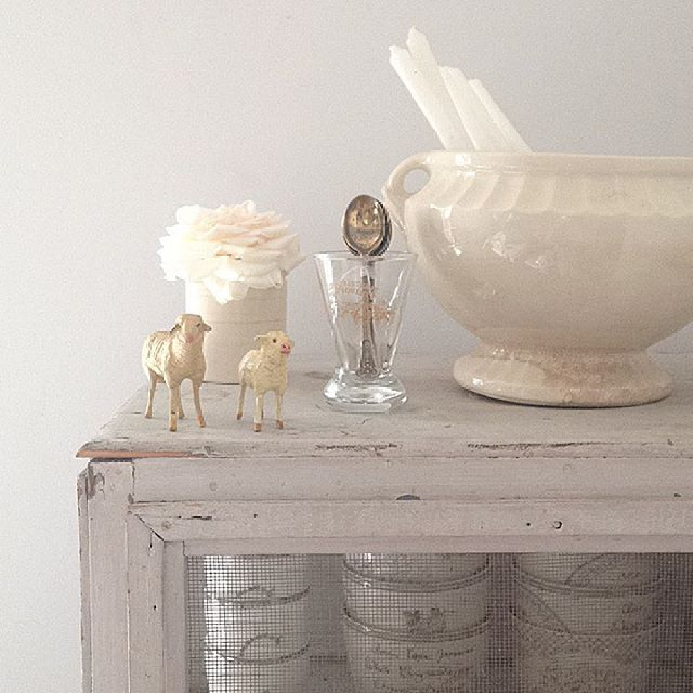 French antiques mingle with Scandi style in an all white country cottage by My Petite Maison.