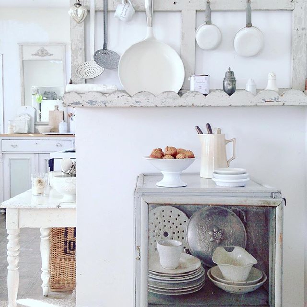 White Scandi country cottage kitchen with vintage and French antiques - My Petite Maison.