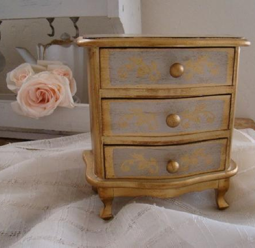 Vintage Florentine jewelry box is perfect for a French Nordic style home - My Petite Maison.