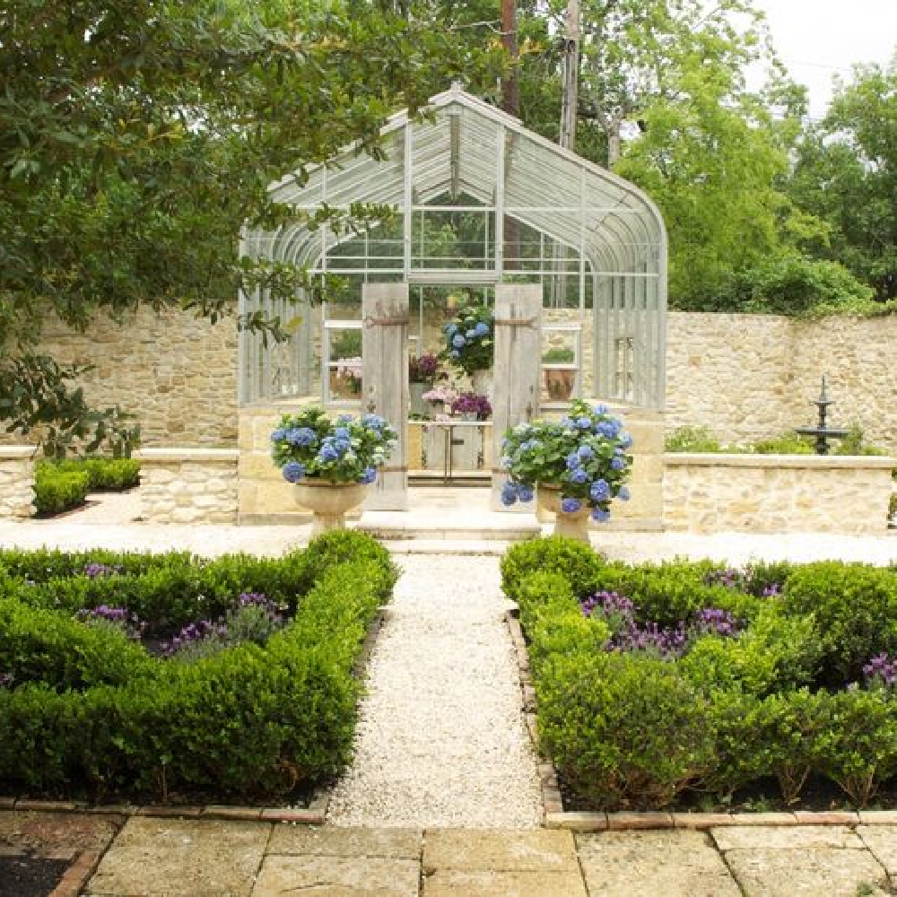 Country French garden of dreams on Ruth Gay's exquisite property - Chateau Domingue. #greenhouses #frenchgarden #conservatory