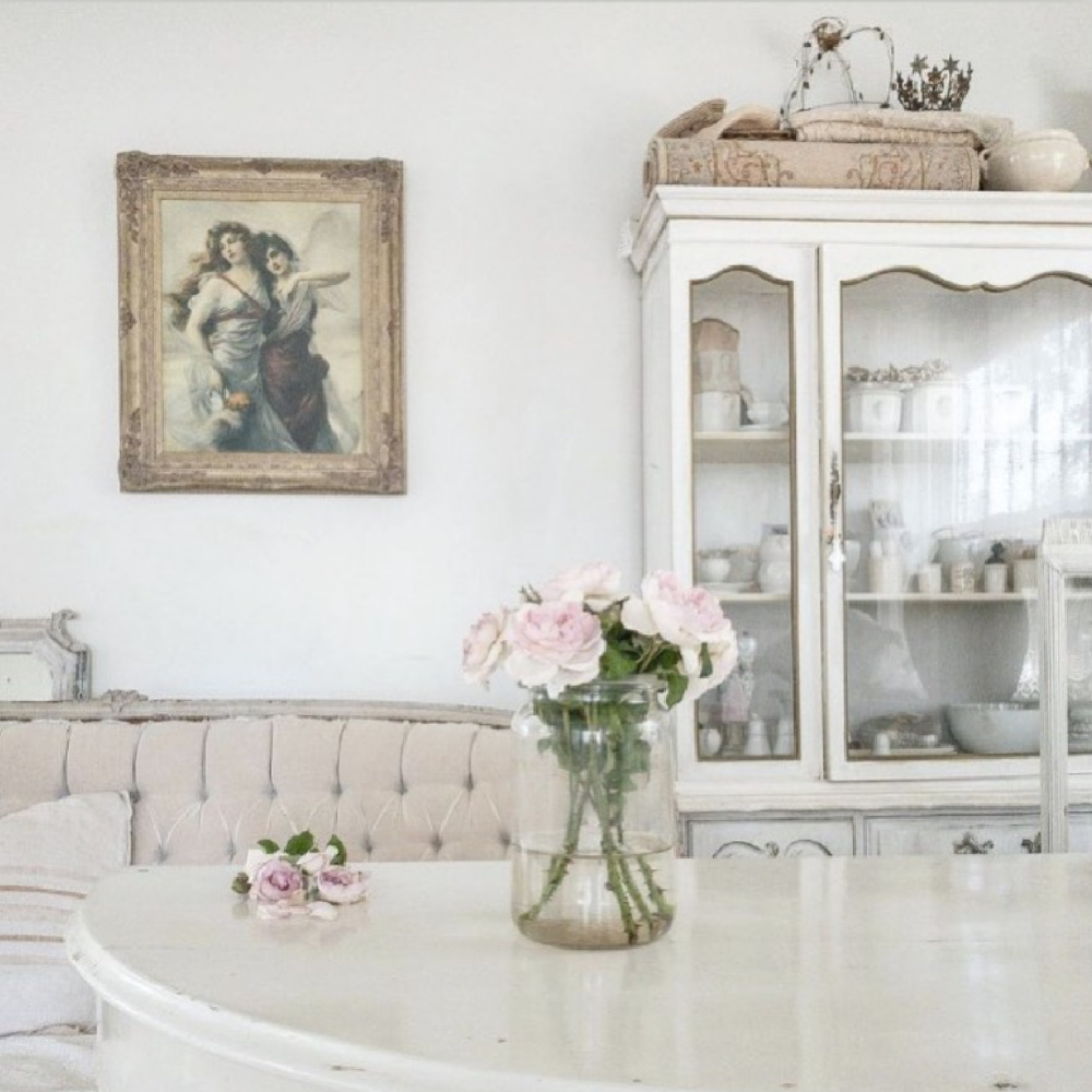 French Nordic white interior by @mypetitemaison has an ethereal feel and pale color palette. #frenchnordic #nordicfrench #interiordesign #shabbychic