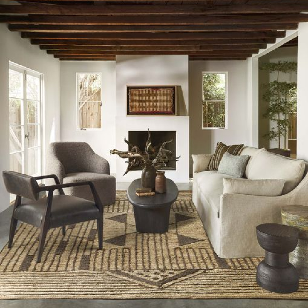 Modern rustic minimal luxe family room with wood ceiling and Portola slipcovered sofa from Lulu & Georgia. #slipcoveredsofas #modernrustic #familyroomsofas