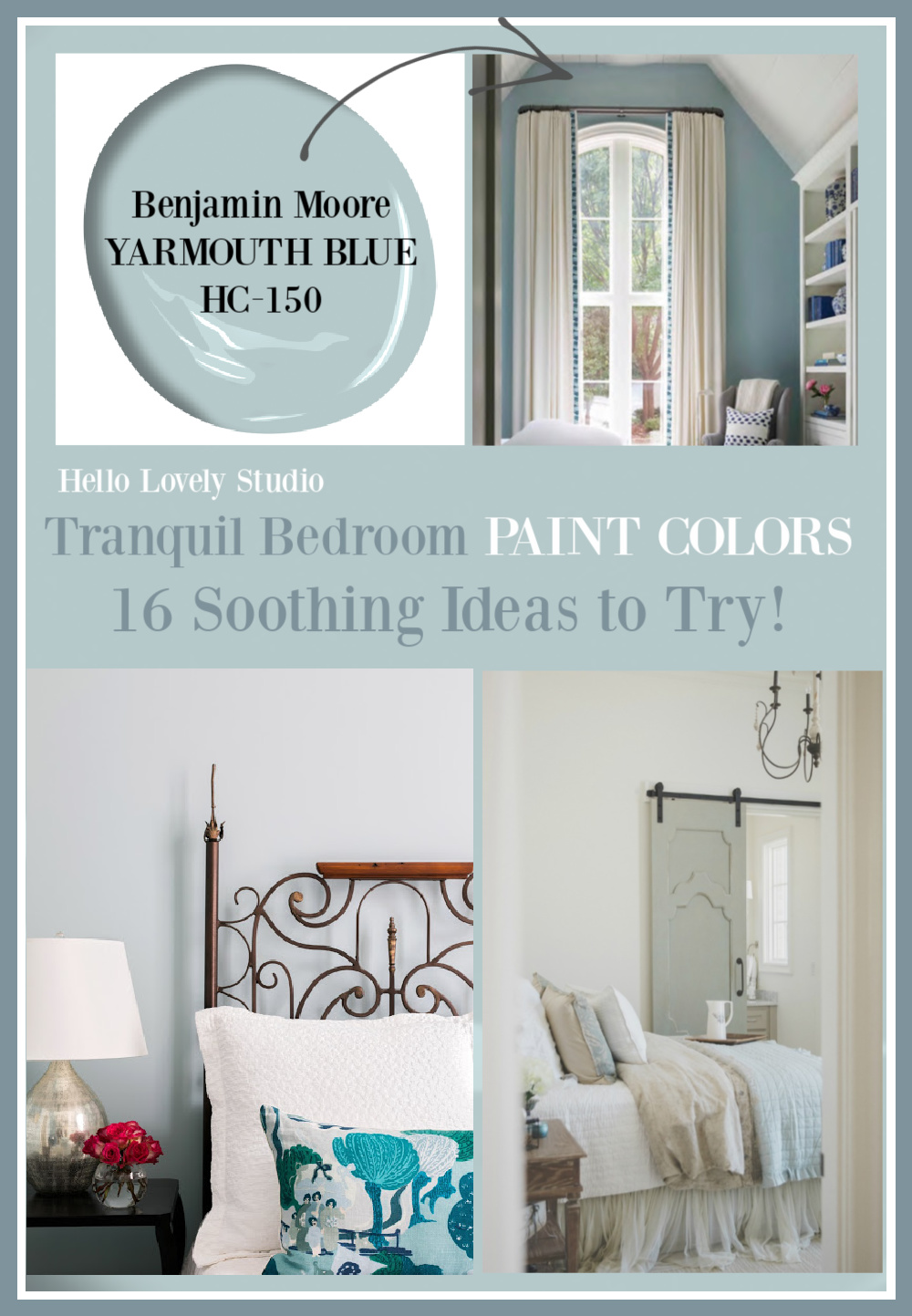 Tranquil bedroom paint colors - 16 soothing ideas to try on Hello Lovely. #paintcolors #tranquilpaintcolors #bedroompaintcolors