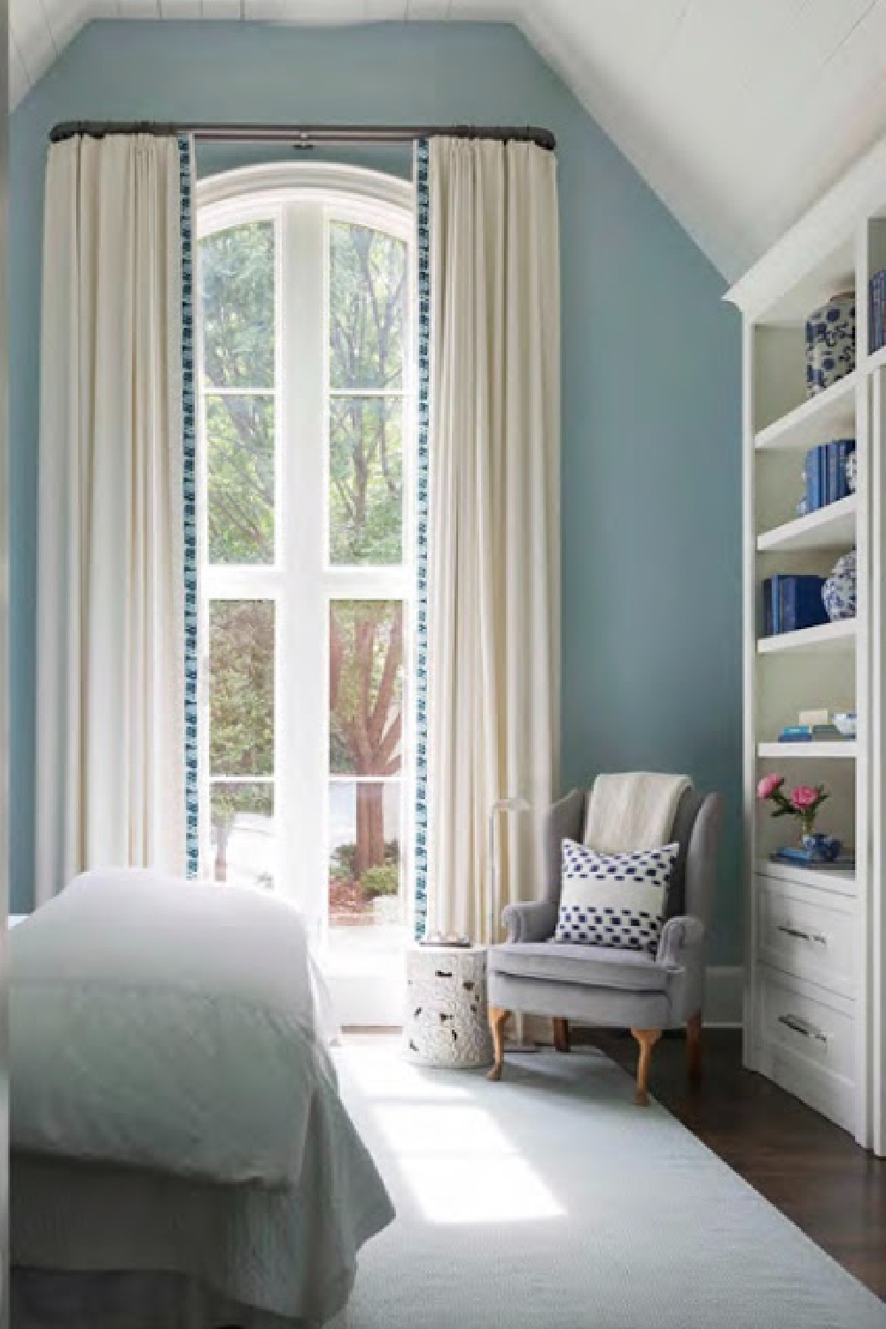 Yarmouth Blue (Benjamin Moore) on bedroom walls in a design by Sherry Hart of Design Indulgence. #yarmouthblue #paintcolors #bluepaintcolors