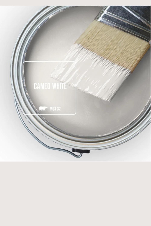 Cameo White (Behr) paint color swatch. #cameowhite #whitepaintcolors #behrcameowhite