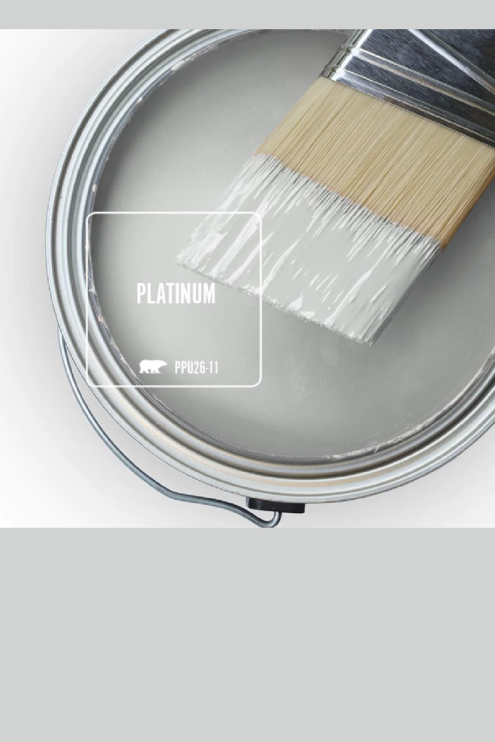 Behr Platinum paint color (an understated stone grey color) swatch. #platinum #behrplatinum #graypaintcolors