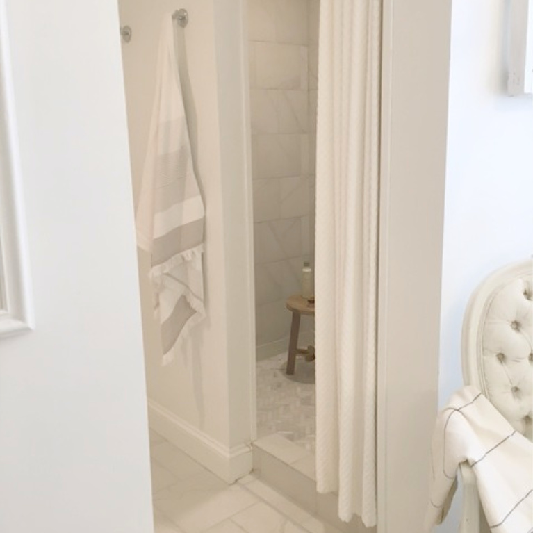 Detail of shower after bathroom renovation - Hello Lovely Studio. #bathroomdesign #whitebathrooms