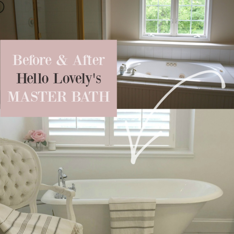 Before and after Hello Lovely's master bath. #hellolovelystudio #bathroomdesign #renovations #homeimprovement #diyhome