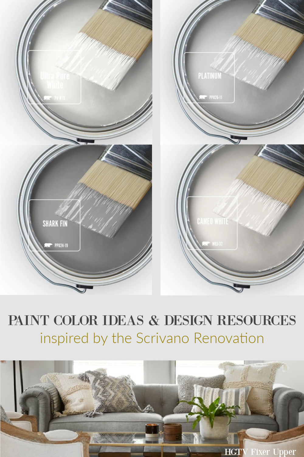 Paint colors and design resources to get the look of Scrivano cottage on HGTV Fixer Upper.