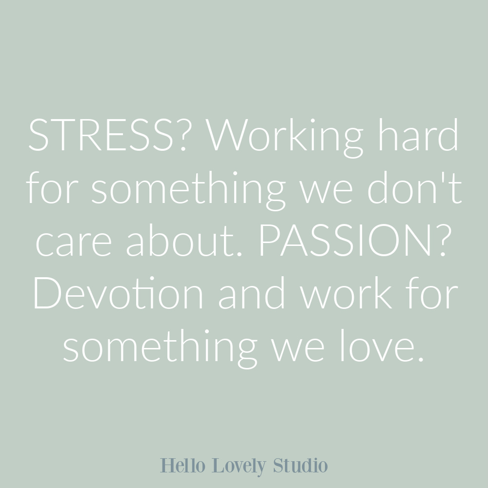 Quote about stress and passion on Hello Lovely. #stressquotes #passionquotes