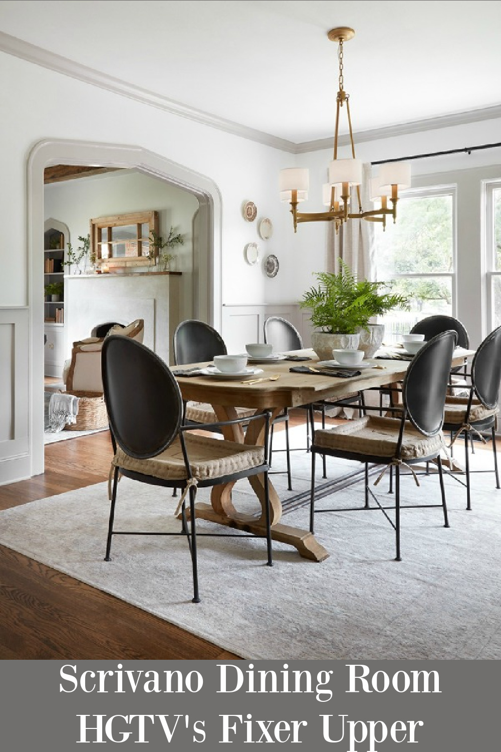 Scrivano dining room from the episode of Fixer Upper (HGTV) with a Tudor cottage renovation. #scrivanorenovation #diningroom #fixerupper