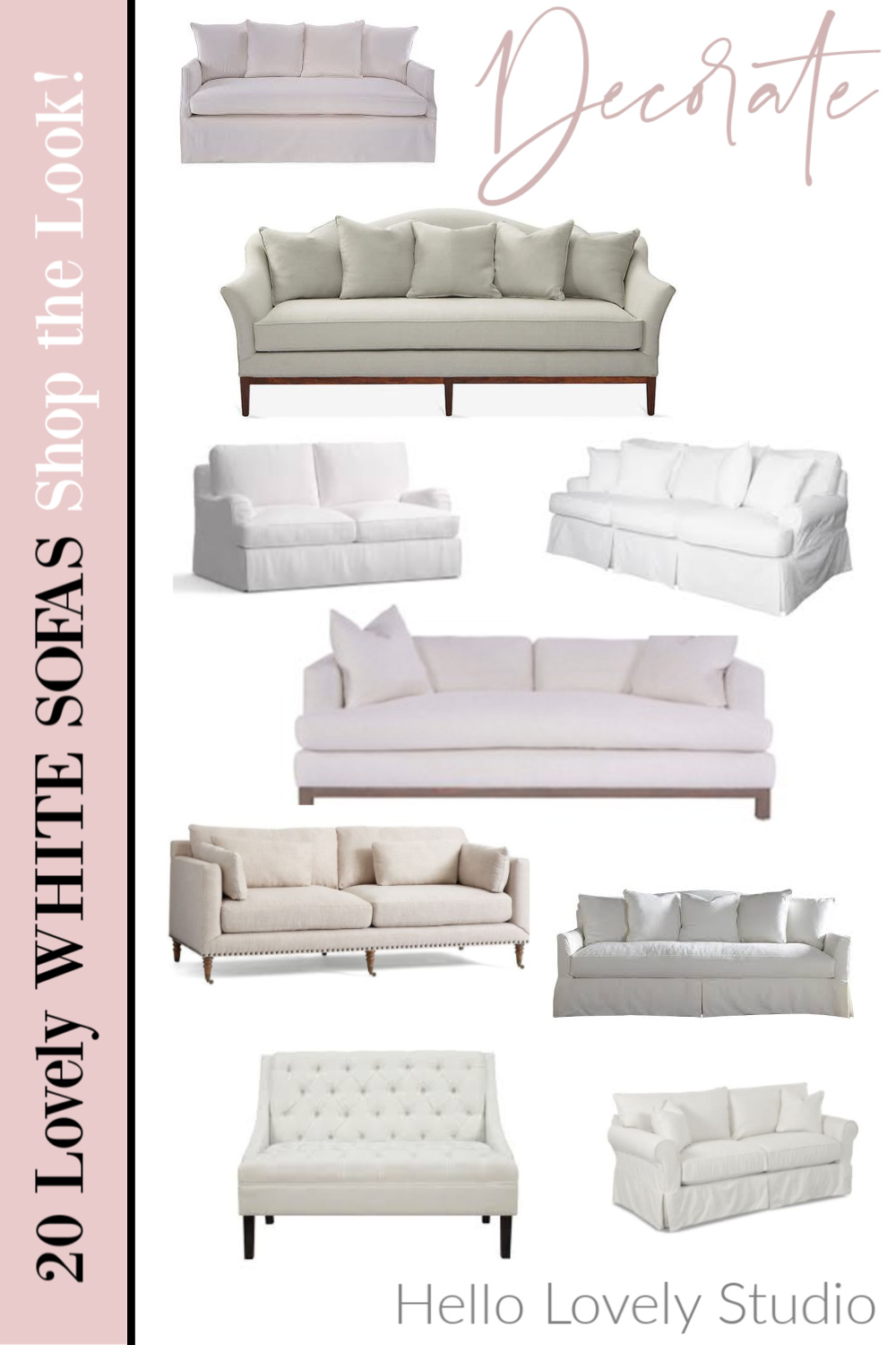 20 lovely white sofas shop the look hello lovely studio. #sofas #whitesofas #furniture #interiordesign #hellolovelystudio