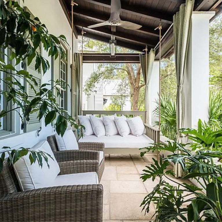 Luxurious front porch. Luxurious house exterior on Somerset in Alys Beach. #houseexterior #luxuryhomes #alysbeach #beachhouses #coveredporch