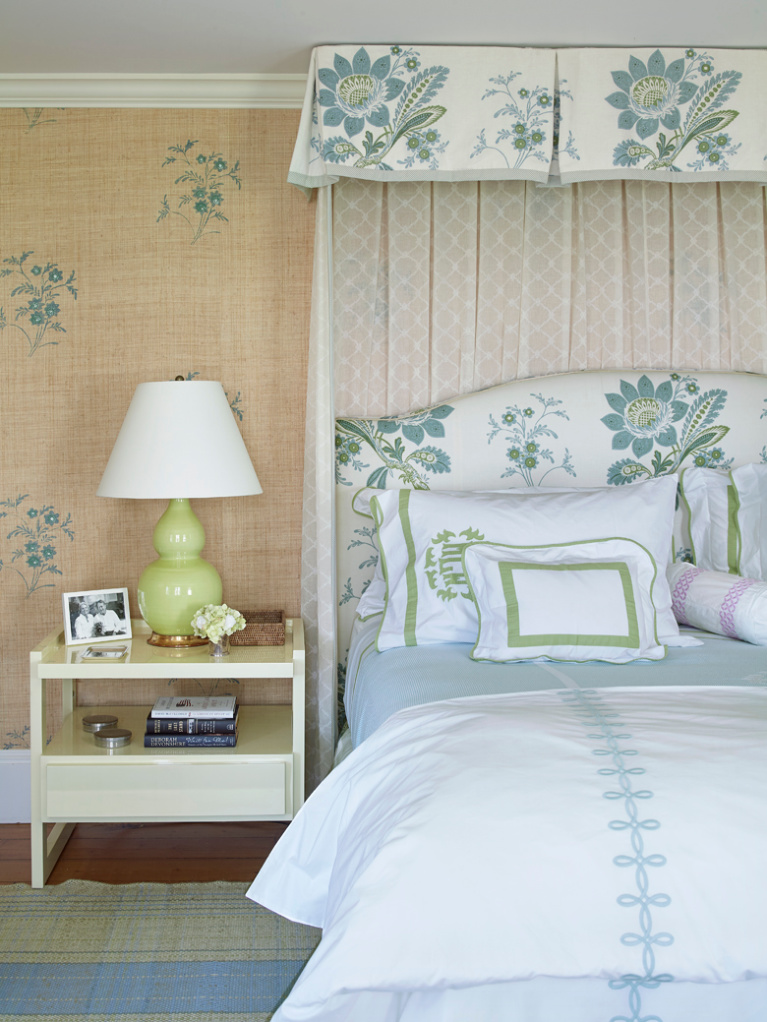 Charming bedroom in a Nantucket summer house with stenciled raffia wall covering and coastal blue and green accents - design by Tom Scheerer. Photo by Tria Giovan for Jennifer Ash Rudick's Summer to Summer. #coastalstyle #cottagebedroom #tomscheerer #interiordesign #nantucketstyle #bedroomdecor #stenciledwall #romanticbedroom #beachybedroom