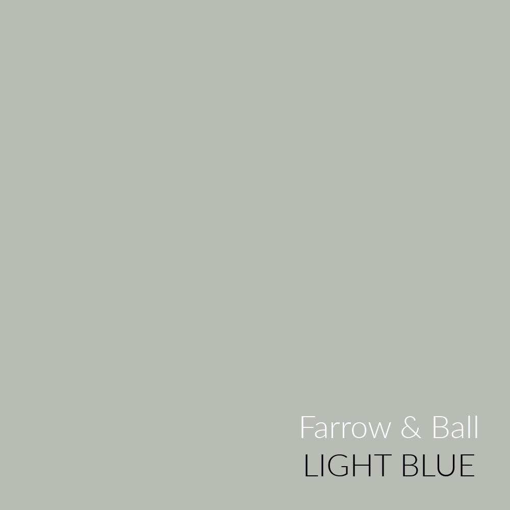 Farrow & Ball Light Blue paint color swatch. #lightblue #farrowandball #paintcolors