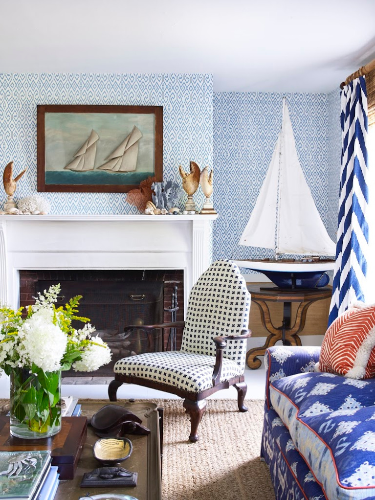 Vibrant blue in a traditional living room on Little Cranberry Island (Maine) with interior design by John Fondas. Fabric and wallpaper by Quadrille. #livingroom #colorfullivingroom #traditionalstyle #interiordesign #quadrille #wallpaper