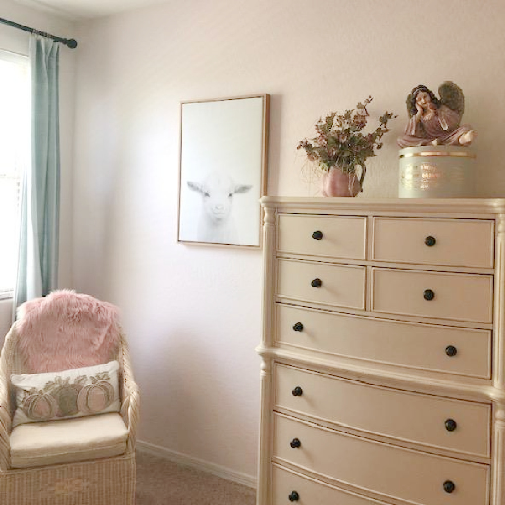 Hello Lovely Studio - Behr Cameo Stone paint color in bedroom.