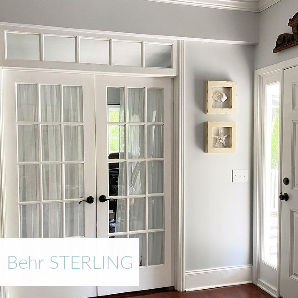 Behr Sterling light blue grey paint color in entry - @thisgirlpaints. #behrsterling #paintcolors