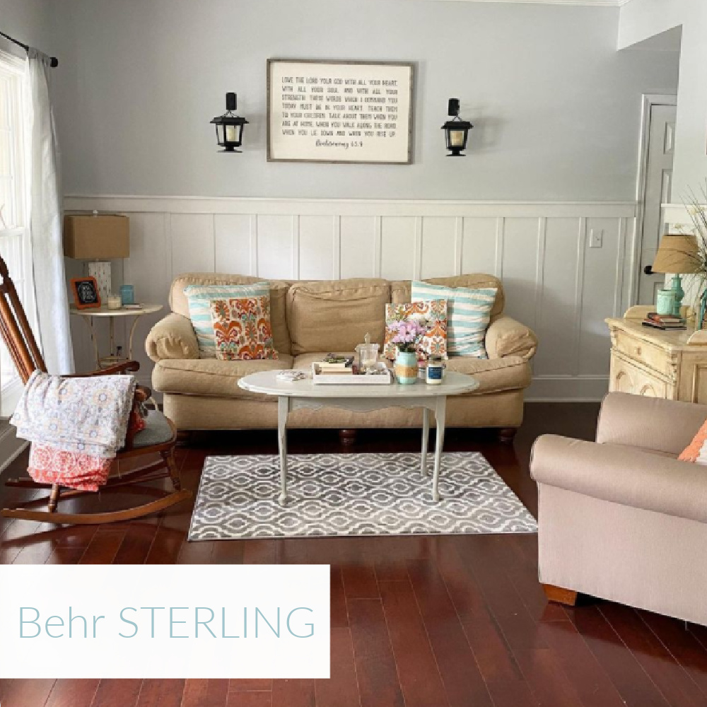 Behr Sterling light blue grey paint color in living room - @thisgirlpaints. #behrsterling #paintcolors