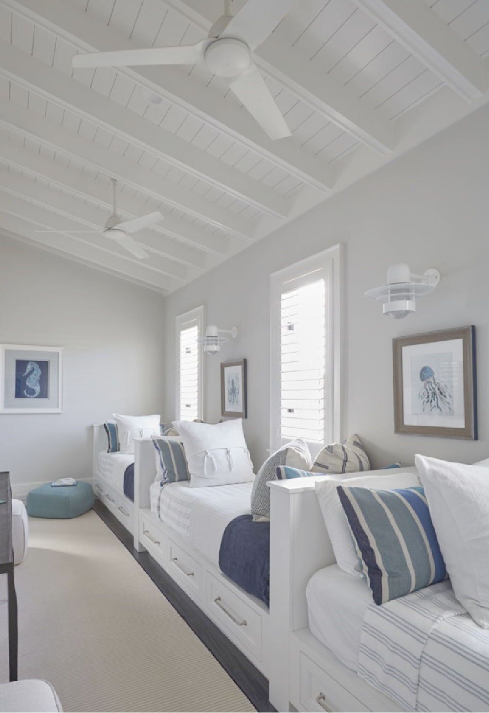 Coastal bedroom with captains beds and exposed rafter style ceiling - architecture: Geoff Chick.