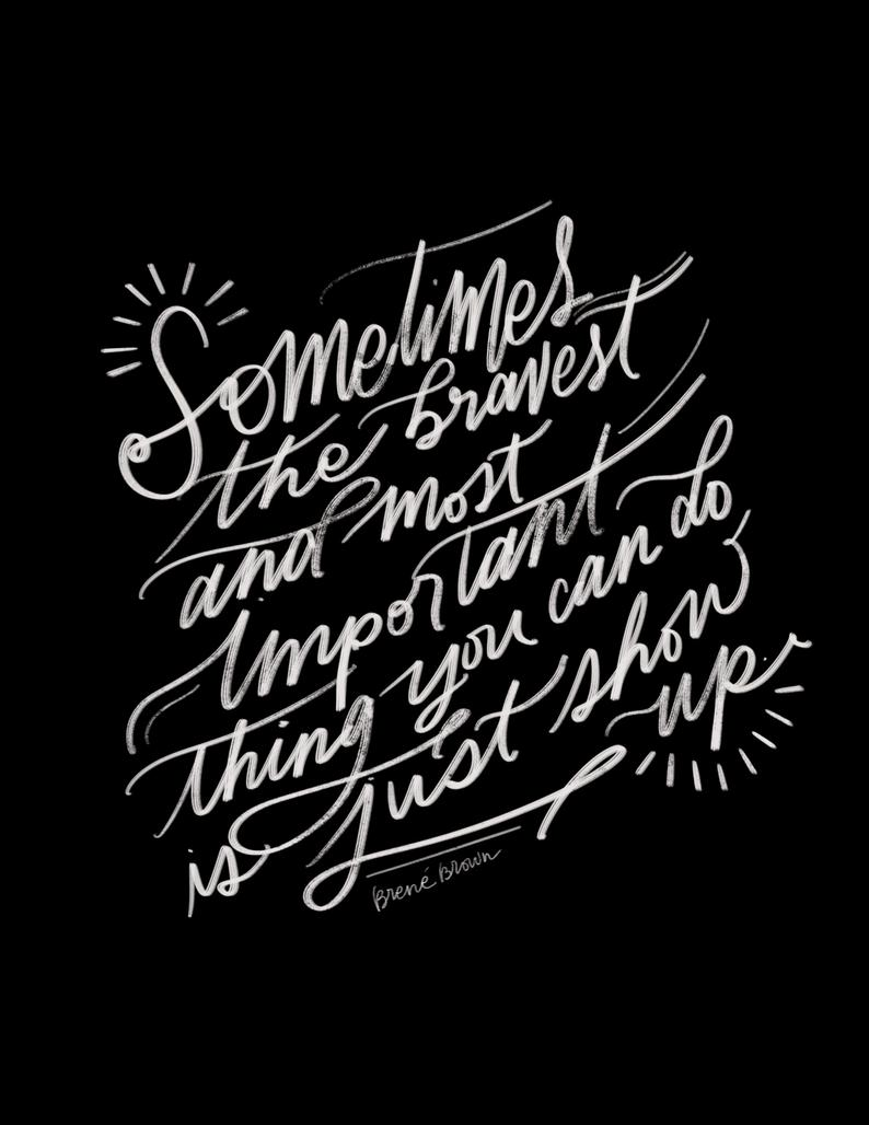 Brene Brown inspirational quote handlettered - RaeLetteringCo on Etsy. #brenebrown #inspirationalquote #handlettered #quotes