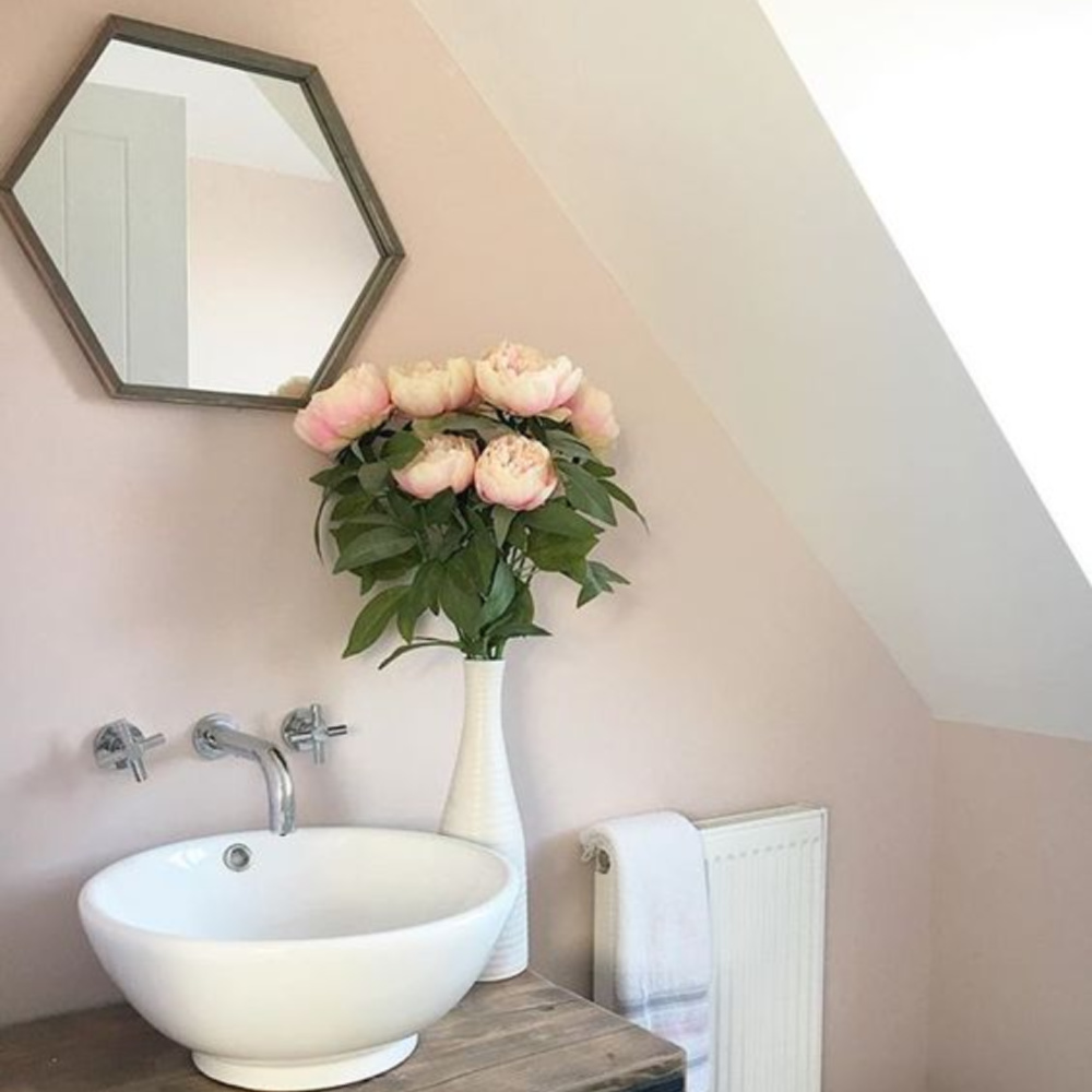Calamine (Farrow & Ball( pink in a bath with vessel sink and wall mounted faucet. Come see the Best Sophisticated, Chic and Subtle Pink Paint Colors on Hello Lovely Studio!