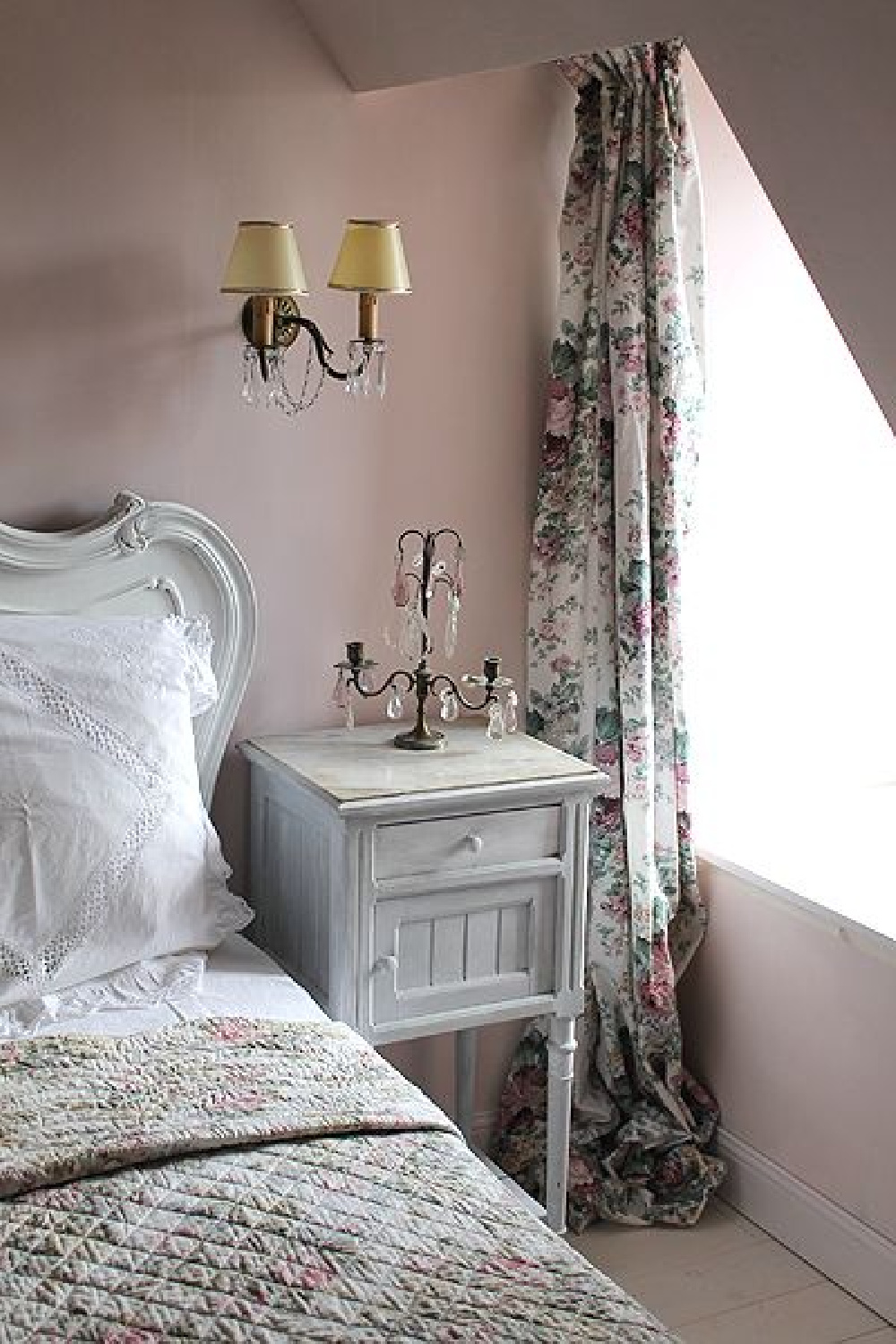 Bedroom with Farrow & Ball Calamine and French country interior design.