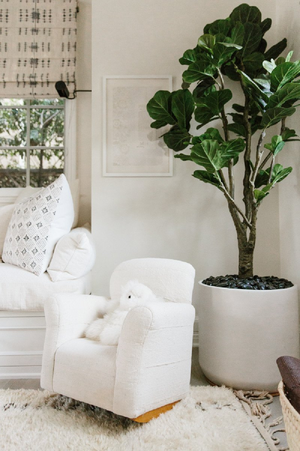Erin Fetherston den with fiddle leaf tree and child's rocking chair. Come explore more California modern farmhouse interior design inspiration.
