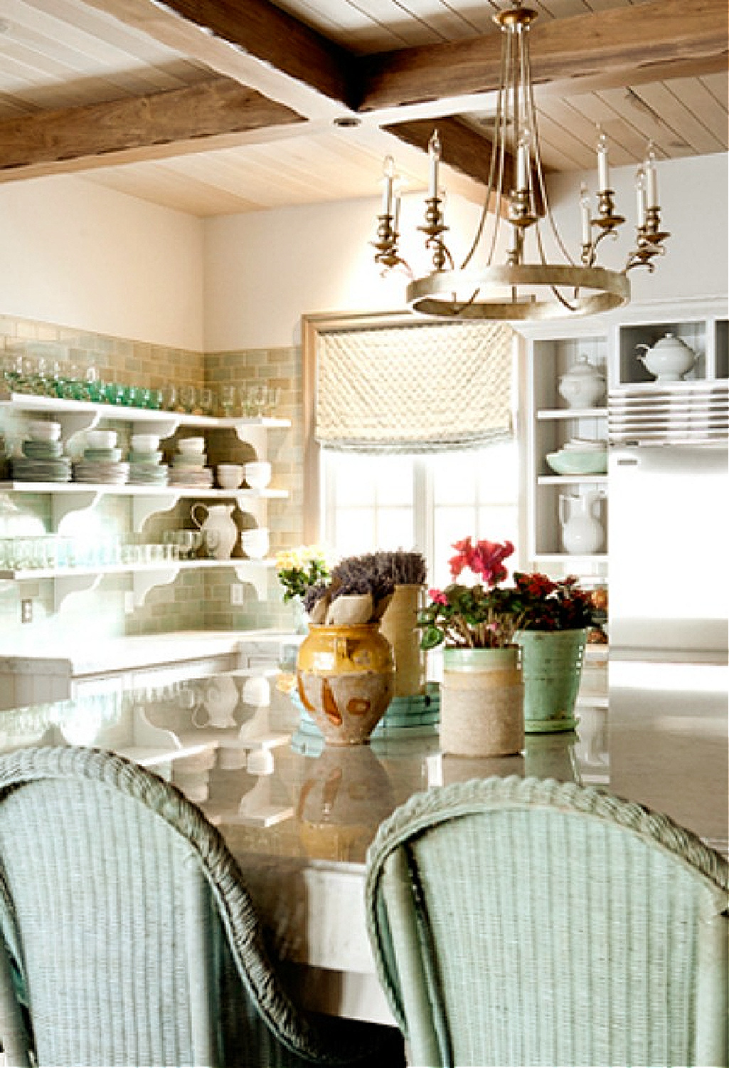Aqua and pastel greens in a French country kitchen by Desiree Ashworth of Decor de Provence.