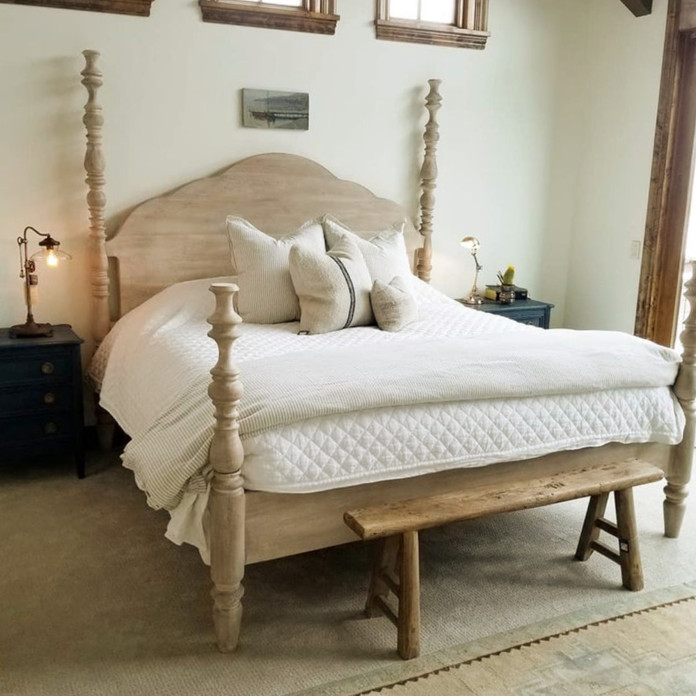 Rustic country European inspired bedroom with poster bed and sumptuous linens - Beljar Home. #europeancountry #bedroomdesign #beljarhome
