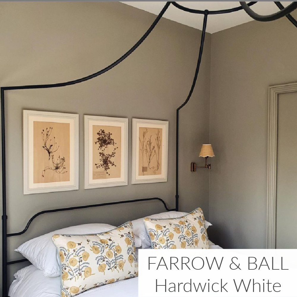 Hardwick White (Farrow & Ball) paint color in bedroom with canopy bed - @kitesgrove (Clara Ewart). #hardwickwhite #paintcolors