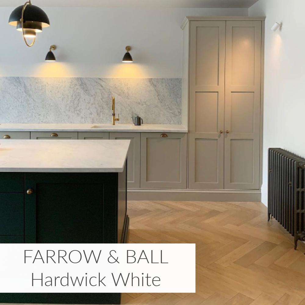 Hardwick White (Farrow & Ball) on kitchen cabinets in a luxurious serene space - @rebeccanokesdesign. #hardwickwhite #paintcolors