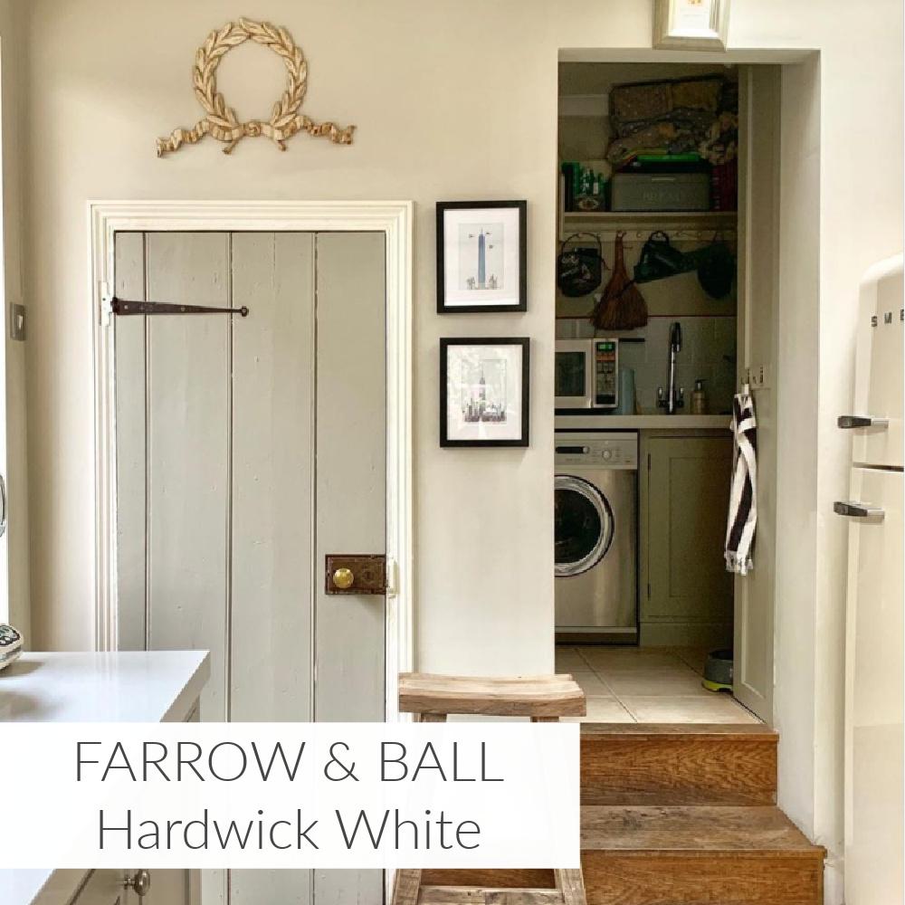 Hardwick White on a lovely old door in an English kitchen by @decorativeantiquesuk. #hardwickwhite #paintcolors #farrowandball