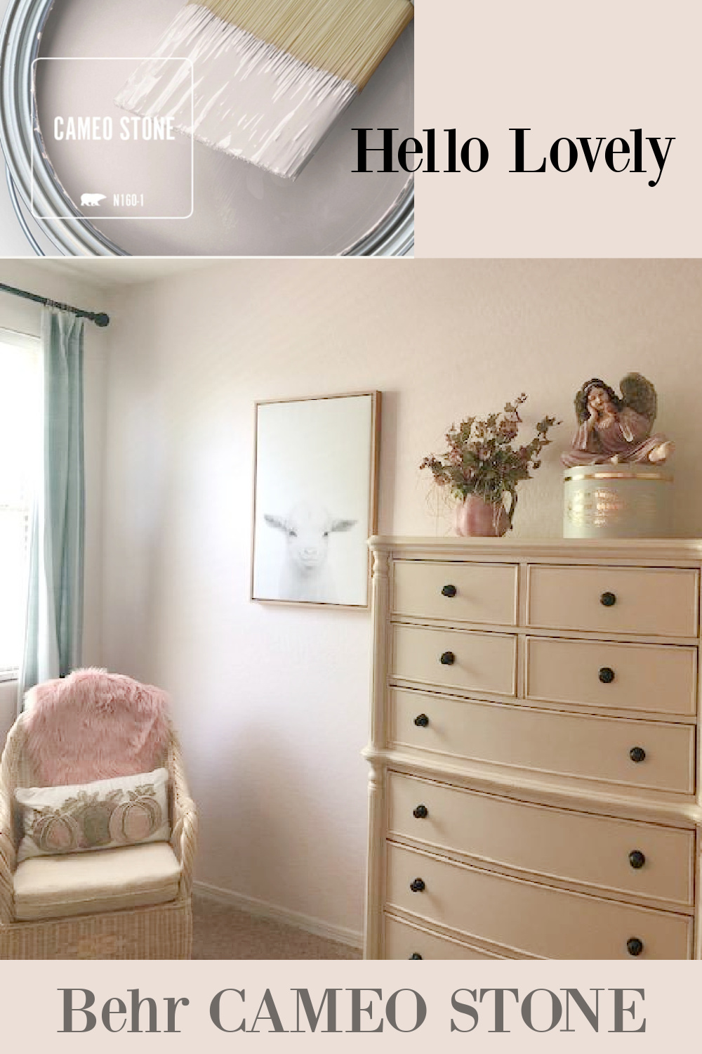 Behr Cameo Stone pale pink paint color is a hushed nude soft pink shade for bedrooms and sophisticated chic spaces - Hello Lovely. #cameostone #pinkpaintcolors