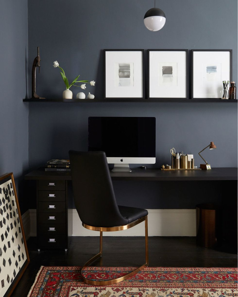 Home office with black walls in Architectural Digest- Nicole Franzen. #homeoffice #blackwalls