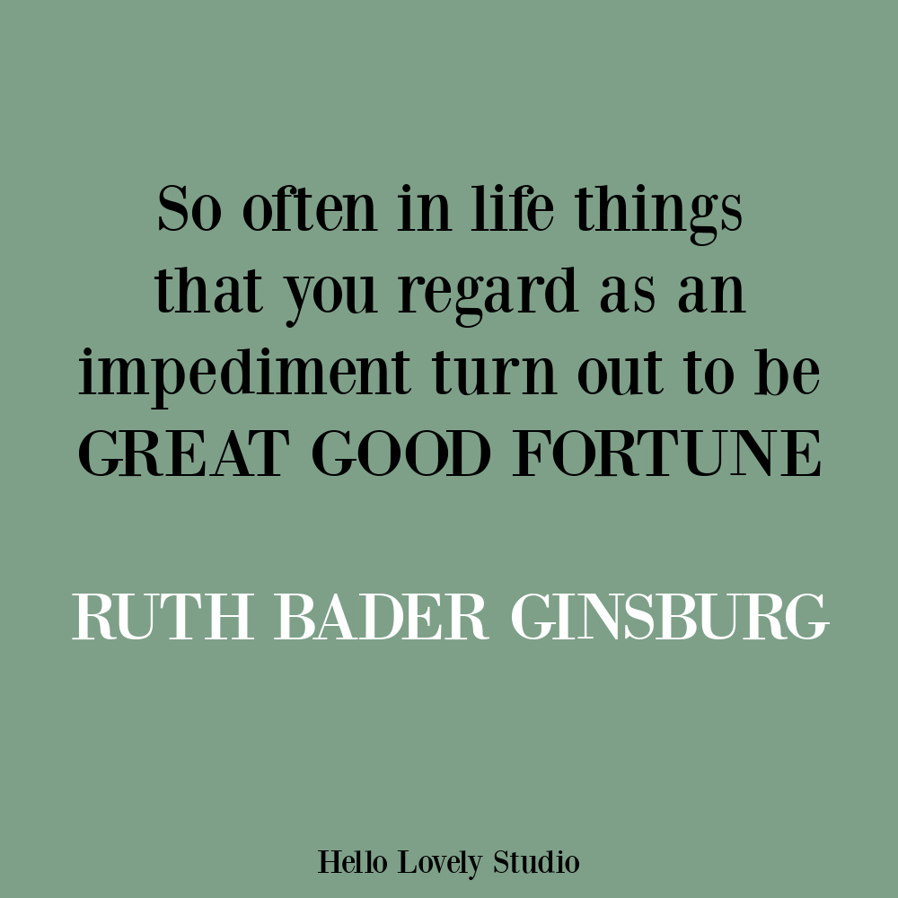 Ruth Bader Ginsburg quote about hope and life. #hopequotes #lifequotes