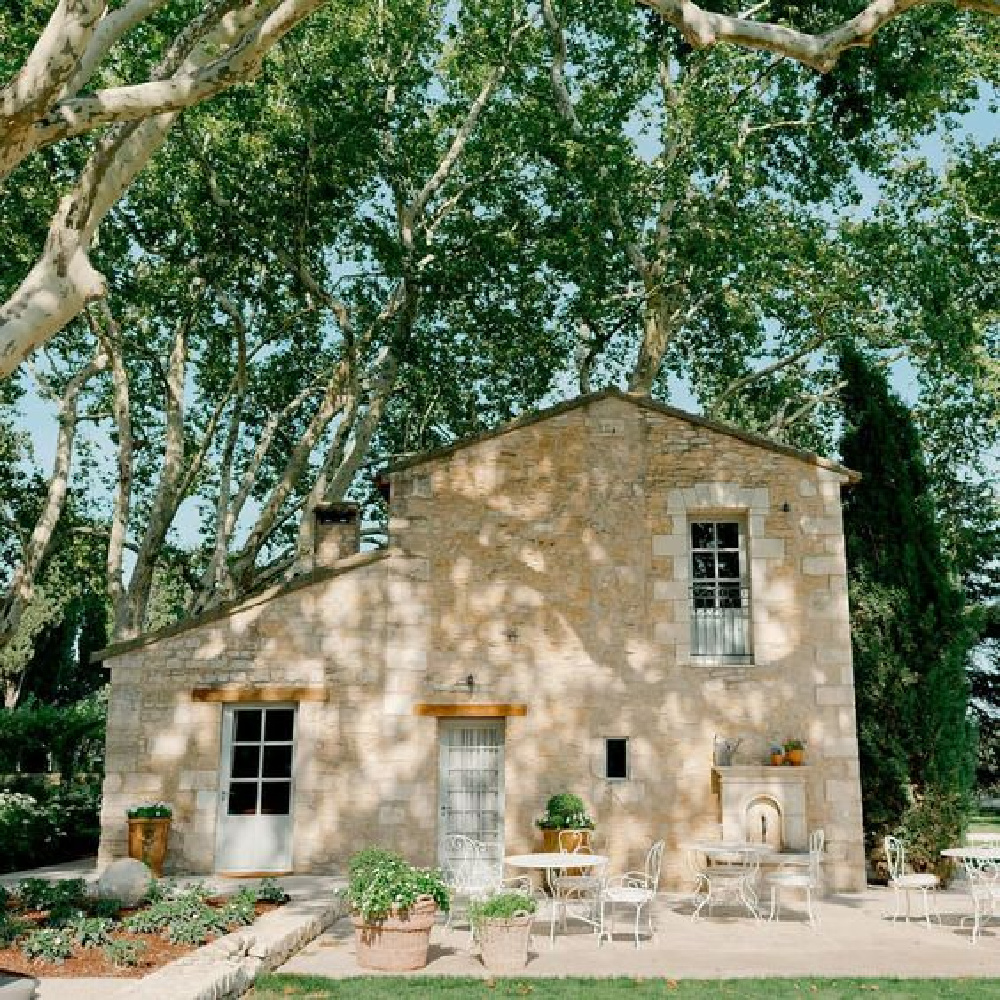 Stone farmhouse exterior of guest house at 18th century French farmhouse Le Mas des Poiriers in Provence, France.