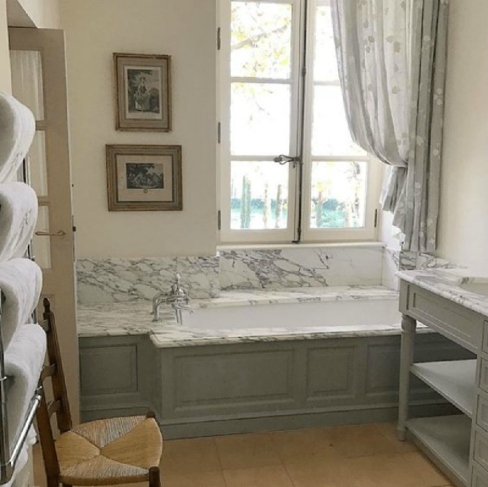 Provence French farmhouse Le Mas des Poiriers traditional bathroom with charming classic materials.