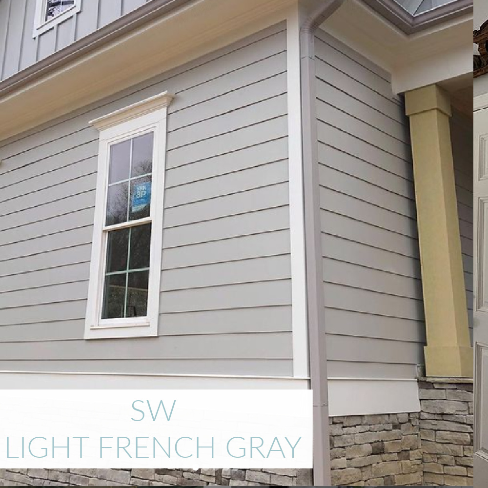 Light French Gray (SW) painted house exterior - @amyhuberdesigns. #lightfrenchgray #paintcolors #sherwinwilliams