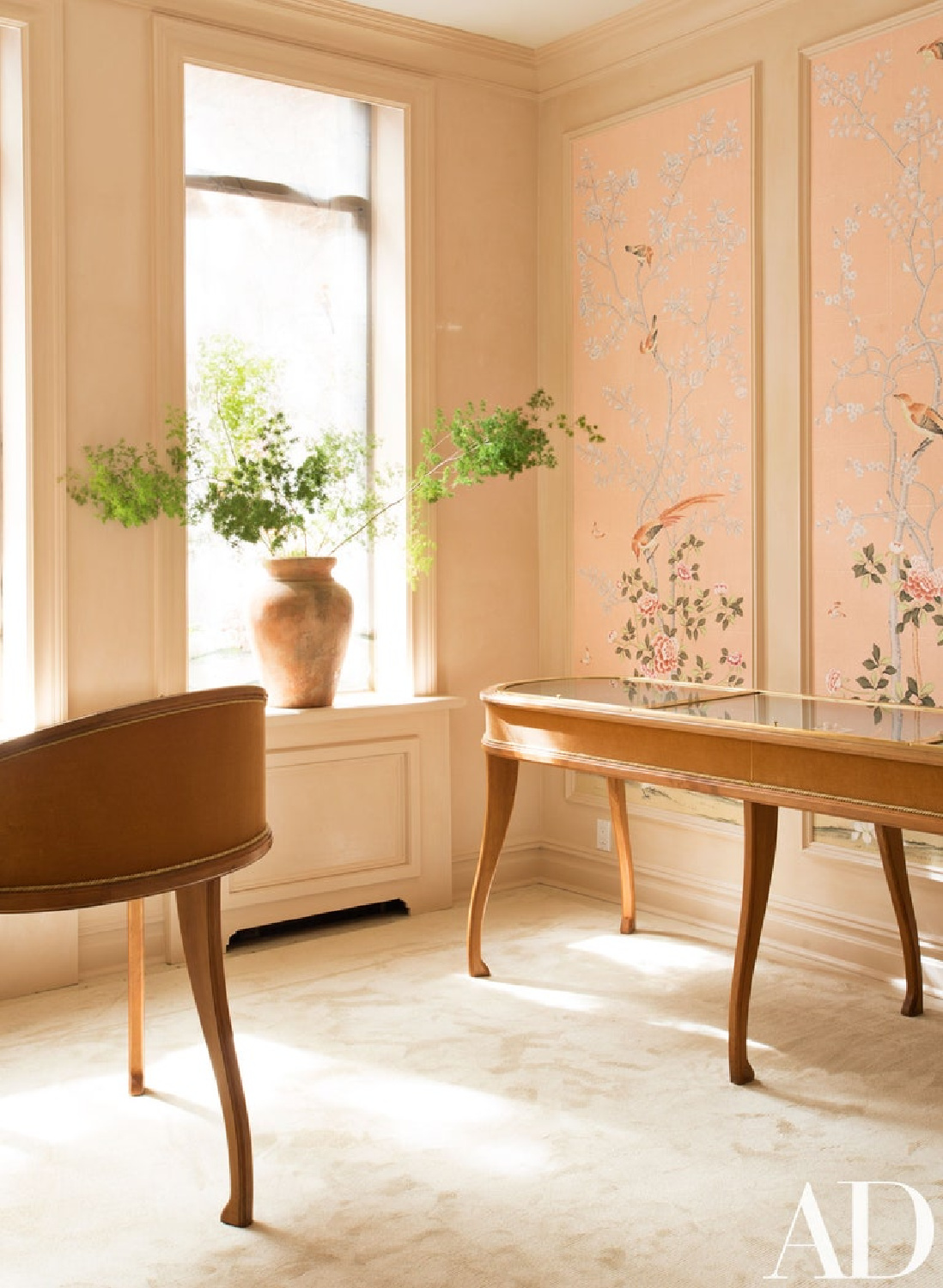 The South Salon features the decorative 'Earlham' Chinoiserie design; hand painted onto both wallpaper and silk blinds. Lauren Santo Domingo's Moda Operandi showroom in NYC. Come see the Best Sophisticated, Chic and Subtle Pink Paint Colors