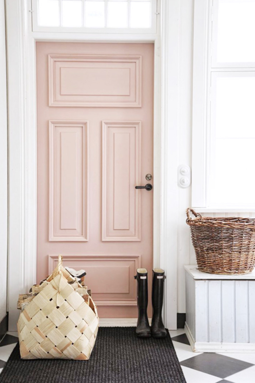 Pink ground wall paint color by Farrow & Ball. A gorgeous blush pink vintage door in an English home. Come see the Best Sophisticated, Chic and Subtle Pink Paint Colors