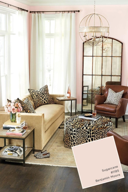 Sugarcane (Benjamin Moore) pink paint in living room with animal print accents - Ballard Designs. #sugarcane #paintcolors