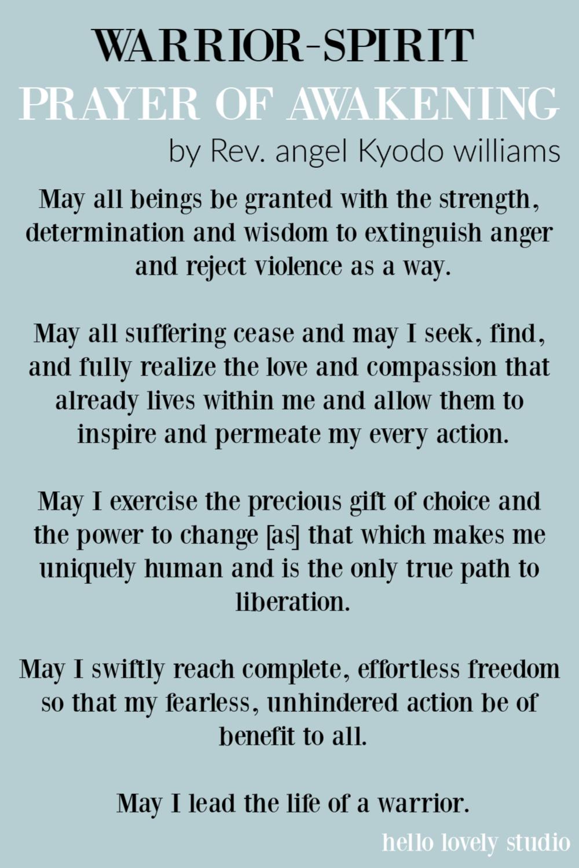 Warrior Spirit by Angel Kyodo Williams. #angelkyodowilliams #prayers #inspirationalquotes