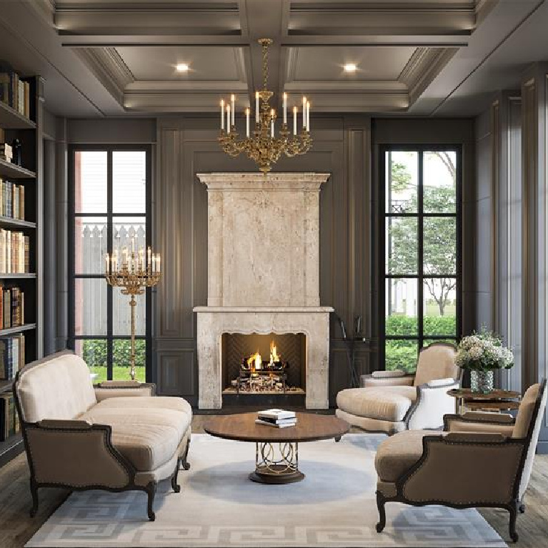 Charcoal gray paneled library in breathtaking French inspired Houston Home (2535 Inwood). Come see more old world new builds. #frenchcountry #housedesign #interiordesign #luxuryhome #frenchhome #library #paneled