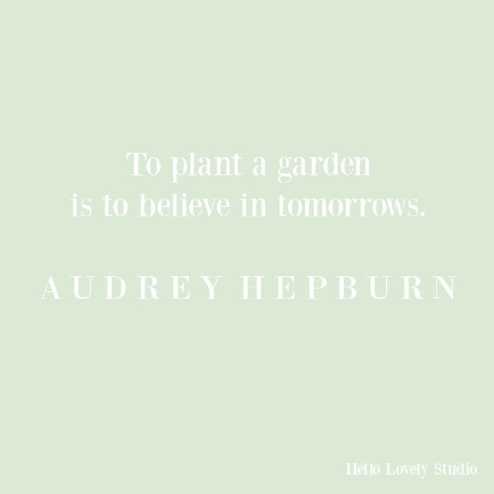 Audrey Hepburn quote on Hello Lovely about gardens. #gardenquotes #audreyhepburnquotes